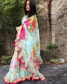 Georgette Ruffle Net Digital Print Saree With Banglori Silk Blouse Piece