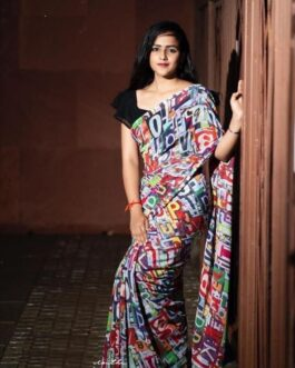Designer Georgette Printed Saree With Banglori Satin Blouse Piece