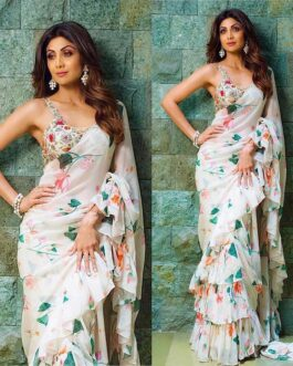 Shilpa Shetty Printed Georgette Ruffle Saree Digital Print With Embroidery Banglori Blouse