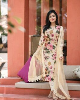 Floral Print Crepe Silk Kurti Palazzo Set Fully Stitched With Heavy Net Dupatta With Fancy Lace Border