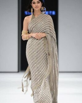 Bollywood Georgette Saree With Embroidery Paper Mirror Hand Work And Georgette Choli