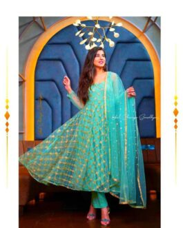 Designer Embroidered Anarkali Gown Fully Stitched Soft Net With Inner Bottom And Dupatta