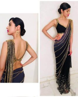 Bollywood Georgette Saree With Net Sequence Work Readymade Lace And Embroidery Work Georgette Blouse Piece