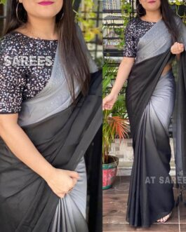 Beautiful Rangoli Silk Printed Saree With Fancy Furr Fabric Two Tone Sequence Work Blouse Piece