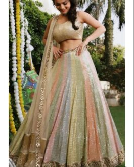 Designer Wedding Wear Embroidery Sequence Work Lehenga Choli And Georgette With Real Mirror Work Lace Border Dupatta