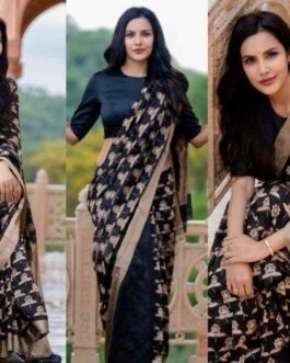 Beautiful Banarasi Silk Jacquard Work Saree With Jacquard Border Blouse Piece