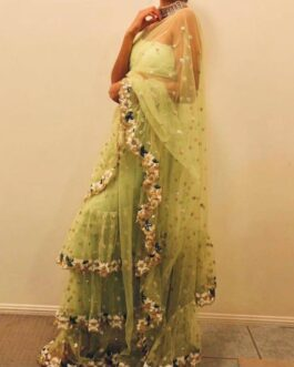 Beautiful Soft Net Full Ruffle Saree Sequence Work With Embroidered Banglori Blouse Piece