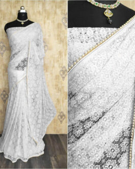 Pure Raschel Jacquard Saree With Heavy Moti Lace Border And Diamond Pallu With Jacquard Blouse