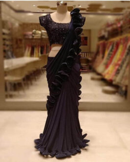 Heavy Georgette Tone To Tone Frill Border Ruffle Saree Tar Design With Full Sequence Work Banglori Silk Blouse