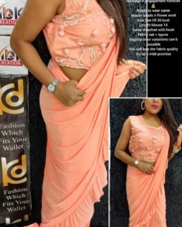 Partywear Lycra Ready To Wear Net Saree  With Flower Work Blouse Beads