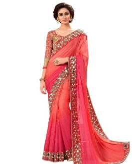 Beautiful Georgette Saree With Lace Border Real Glass Mirror Work And Banglori Silk Blouse