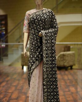 Pure 9000 Velvet Embroidery Thread Work Saree With Mulbury Blouse