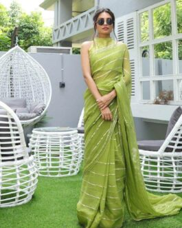 Designer Wedding wear Heavy Georgette Saree Gota Patti Work With Taffeta Silk Embroidery Blouse