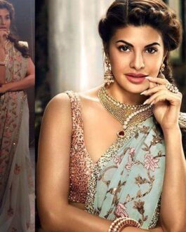 Jacqueline Fernandez Heavy Georgette Partywear Saree With Sequence Work Lace And Banglori Satin Blouse Piece