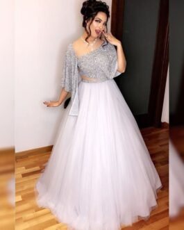 Beautiful White Net Lehenga Banglori Satin Inner And Sequence Work Belt With Georgette Grey Sequence Work Blouse