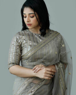 Partywear Soft Ruffle Net Saree Full Embroidery Sequence Work And Banglori Sequence Work Blouse Piece