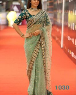 Partywear Net Saree With Heavy Embroidery Work Lace With Banglori Satin Blouse