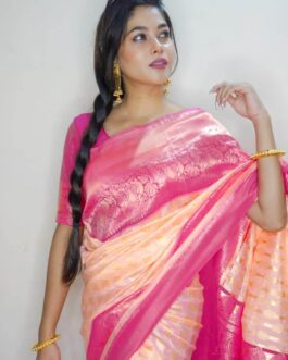 Beautiful Misri Silk Saree With Banarasi Silk Blouse