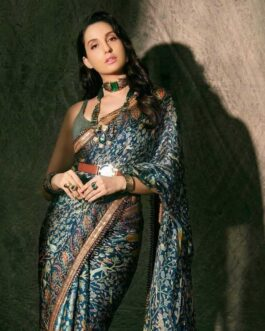 Bollywood Heavy Soft Georgette Digital Print With Ready Made Lace Border And Banglori Silk Blouse