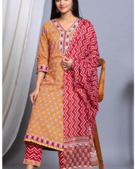 Soft Cotton Heavy Gotta Work With Zari Embroidery Kurta Pant Set With Malmal Dupatta