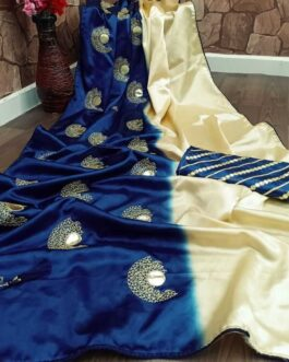 Premium Crepe Silk Satin Saree With Heavy Embroidered Zari And Golden Foil Mirror Work With Blouse Piece