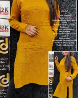 Stylish Woolen Kurti Pajaami With One Side Pocket And Beaded Work