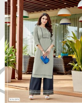 Beautiful Embroidery Rayon Suit And Palazzo