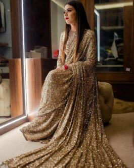 Heavy Georgette Tone To Tone Full Sequin Work Saree With Full Sequin Blouse Piece