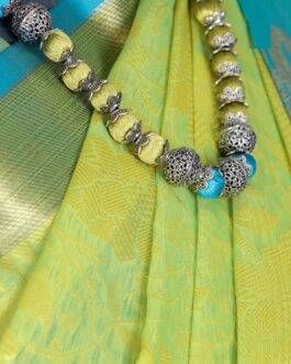 Original Tanchvi Muslin Saree Woven Soft Thread Zari Motifs With Contrast Blouse And Necklace Earring And Bangle Set