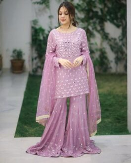 Heavy Georgette Embroidery Work Kurti Palazzo Set With Soft Net Embroidery Dupatta